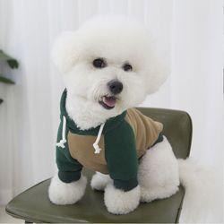 강아지옷 배색 양기모 후드 2color