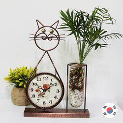 고양이시계 인테리어 화병 SFB-716 동공예품 국내제조