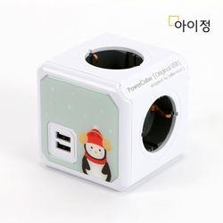 아이정 파워큐브 4구 USB 멀티탭 그레이펭귄 크리스마스 에디션