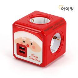 아이정 파워큐브 4구 USB 멀티탭 레드산타 크리스마스 에디션