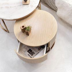 가베타 로즈골드 서랍 소파테이블