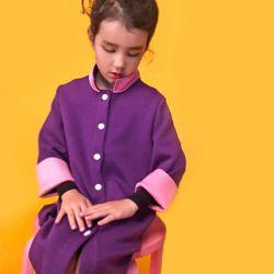 아동 겨울 모던 배색 스냅 코트