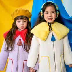 아동 겨울 무스탕 믹스 퍼카라 코트