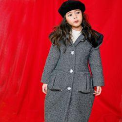 아동 겨울 빅카라 라인 헤링본 코트