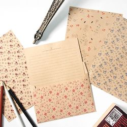 크라프트 패턴 편지지 - 플라워 4set