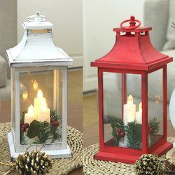 크리스마스 엔틱 LED 사각랜턴 장식 소품 2 color