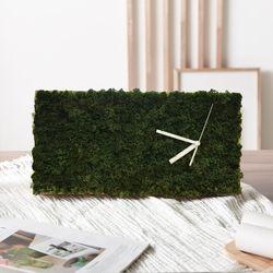 스칸디아모스 원목 벽시계(40x20cm) - 모스그린