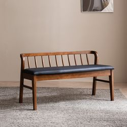 바렌트 고무나무 원목 2인 벤치의자