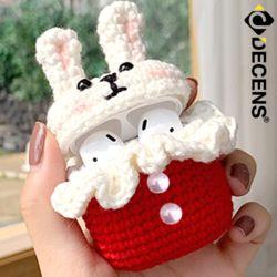 데켄스 에어팟 1세대 2세대 토끼 캐릭터 뜨개질 케이