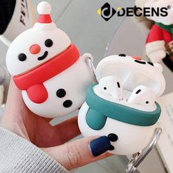 데켄스 에어팟 1세대 2세대 눈사람 실리콘 키링 케이