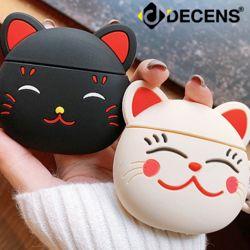 데켄스 에어팟 1세대 2세대 고양이 키링 실리콘 케이