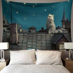 태피스트리 패브릭 포스터 - 지붕 위 고양이 (150x130cm)