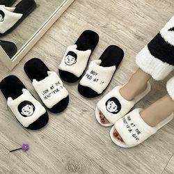 유니크 커플 거실 겨울 털실내화 2TYPE