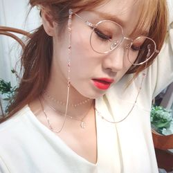 핑크골드 하트와장미 슬림체인 안경줄