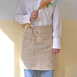블랭크 린넨 숏 앞치마 . 숏 에이프런 (RM 258001)