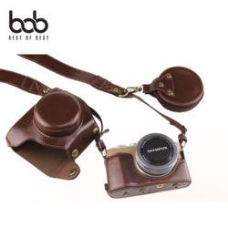 bob 올림푸스 E-PL9 카메라 가죽케이스+렌즈캡 파우치