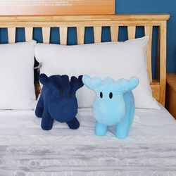 모즈 스웨덴 큰뿔 사슴 캐릭터 극세사 인형 쿠션 블루