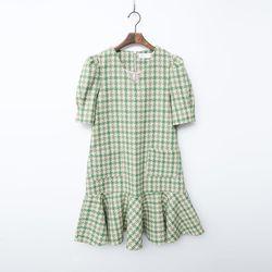 Tweed Wool Puff Mini Dress