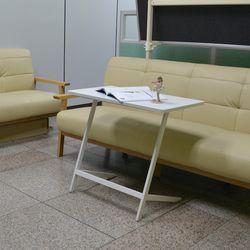 니트 사이드 테이블 대형 화이트