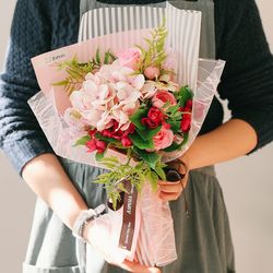 [메세지픽+쇼핑백] 줄리앤 비누꽃 수국 꽃다발핑크-졸업꽃다발