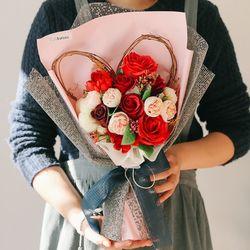 [메세지픽+쇼핑백] 엘고트 레드핑크 하트비누꽃다발 -졸업꽃다발