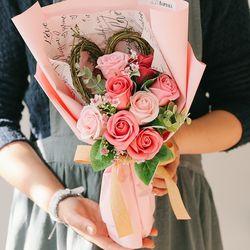 [메세지픽+쇼핑백] 알리 핑크하트 비누꽃다발-졸업꽃다발