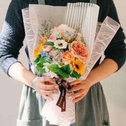 [메세지픽+쇼핑백] 줄리앤 비누꽃 수국 꽃다발오렌지-졸업꽃다발