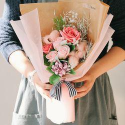[메세지픽+쇼핑백] 노벨티 장미 목화 비누꽃다발-졸업꽃다발