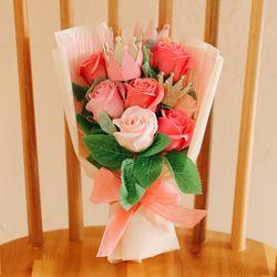 [쇼핑백] 티아라 핑크레드 비누꽃다발 -졸업꽃다발