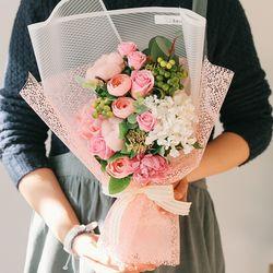 [메세지픽+쇼핑백] 앨리슨 비누꽃 목화 꽃다발-졸업꽃다발