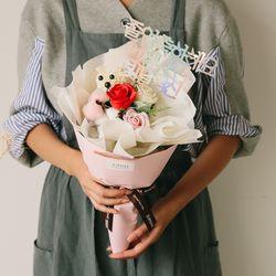 [쇼핑백] 테디곰 장미 비누꽃다발