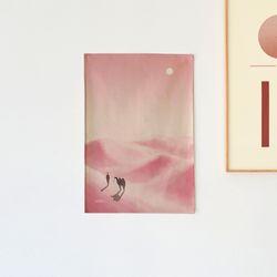핑크사막 일러스트 패브릭 포스터.가리개커튼 (M 사이즈)