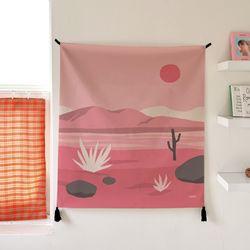 핑크사막 일러스트 패브릭 포스터.가리개 커튼 (행잉L 사이즈)