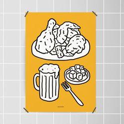 치맥4 M 유니크 인테리어 디자인 포스터 치킨 맥주 A3(중형)