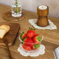우아한 레이스 2종 코스터 라지 캔들 컵 화분 받침 도일리매트