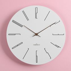 로즈골드색상의 시계바늘이 포인트인 화이트모던 롱넘버 벽시계