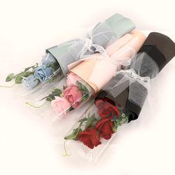 꽃다발 입학 졸업 기념일 선물 조화장미 3송이장미꽃다발