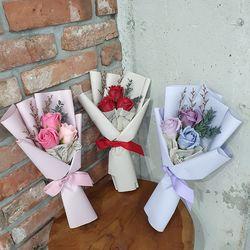 비누꽃장미 3송이 미니꽃다발