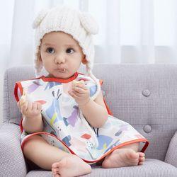 유아 아기 무형광 오가닉 앞치마형 이유식턱받이