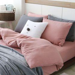 도톰한 퀼팅침구(핑크) 싱글 매트리스커버세트