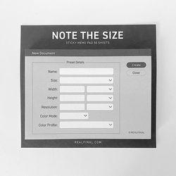 NOTE THE SIZE 디자인 사이즈 메모 포스트잇