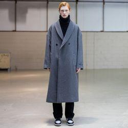 매스노운 숄카라 오버사이즈 더블 코트 MFNCT003-GY