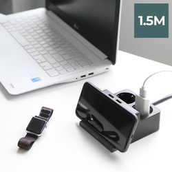 라이프썸 무선충전 USB 멀티탭 2구 1.5M (LFS-HA22) 다크그레이