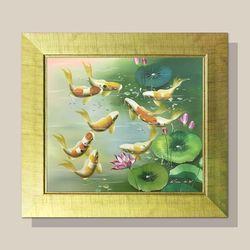 풍수지리 그림액자 부자되는그림 잉어 그림 H형 12호