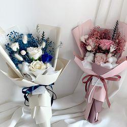 퀸장미 안개믹스꽃다발 프리저브드꽃다발