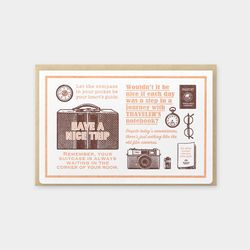 Travel Tools Collection Letterpress Card 브라운