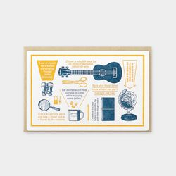 Travel Tools Collection Letterpress Card Blue