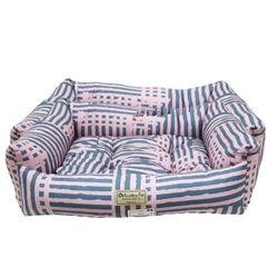 강아지쿠션 오로라펫 사각방석 핑크소다라인(대)