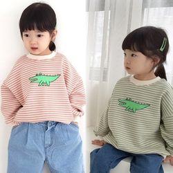 꿈꾸는아이 악어 스트라이프 맨투맨 티셔츠 2컬러 택1
