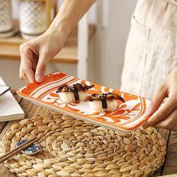 일본풍 도자기 직사각접시 과일 생선 초밥 그릇 1p